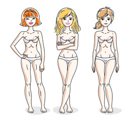 Young beautiful women standing in white underwear. Vector set of beautiful people illustrations.