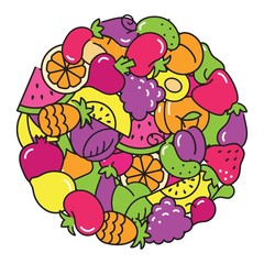 Fun image of vegetables and fruit in the form of a circle