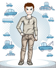 Cute little teenager boy standing in stylish casual clothes. Vector human illustration. Fashion and lifestyle theme cartoon.