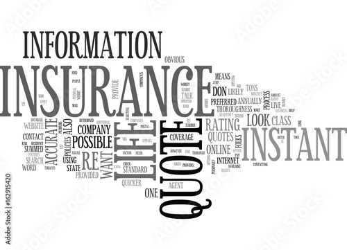 WHAT TO LOOK FOR IN AN INSTANT LIFE INSURANCE QUOTE TEXT WORD CLOUD CONCEPT