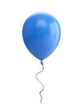 3D Rendering blue Balloon Isolated on white Background