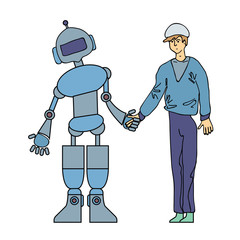 The man and the robot shake hands. Artificial intelligence, friendship between people and robots. Vector concept illustration, isolated on white background.