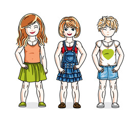 Cute little girls standing wearing fashionable casual clothes. Vector kids illustrations set.