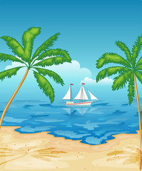 Sailboat in the sea. Tropical beach with palm trees. Rest, travel.Vector illustration.