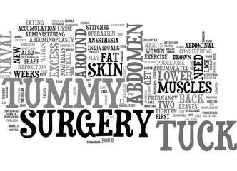 WHAT YOU NEED TO KNOW ABOUT TUMMY TUCK SURGERY TEXT WORD CLOUD CONCEPT