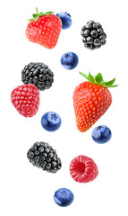Isolated mixed berries in the air. Falling blackberry, raspberry, blueberry and strawberry fruits isolated on white background with clipping path