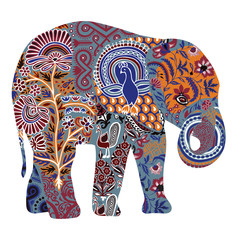 Elephant with ornate drawings in Indian style
