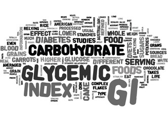 WHAT YOU SHOULD KNOW ABOUT GLYCEMIC INDEX TEXT WORD CLOUD CONCEPT