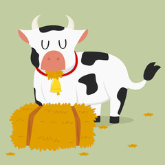 a cow eating hay next to a haystack vector illustration