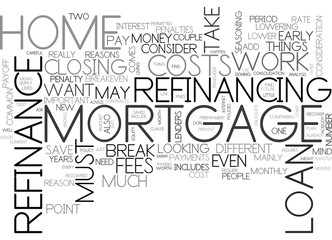 WHEN CAN I REFINANCE MY HOME TEXT WORD CLOUD CONCEPT