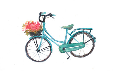 Retro blue bicycle with flowers on white, hand drawn watercolor illustrator