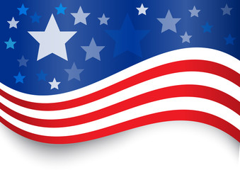 USA flag design background that can use to represent independence day or memorial day event. This provides empty space on blue area for your title and the bottom for any text.