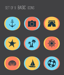 Season Icons Set. Collection Of Trees, Armature, Sunny And Other Elements. Also Includes Symbols Such As Conch, Photo, Cocos.