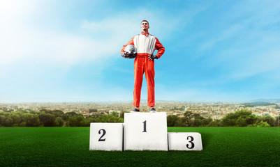Poster Motorise Karting racer on winner podium go kart competition