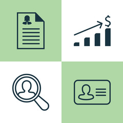 Management Icons Set. Collection Of Successful Investment, Find Employee, Female Application And Other Elements. Also Includes Symbols Such As Application, Growth, Resume.