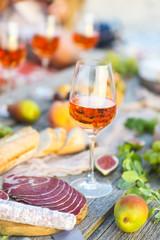 Rose wine glass and Italian food