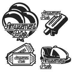 Color vintage Amusement park emblems.