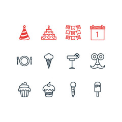 Vector Illustration Of 12 Party Icons. Editable Pack Of Man Style, Cap, Karaoke And Other Elements.