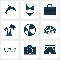 Sun Icons Set. Collection Of Trees, Video, Bikini And Other Elements. Also Includes Symbols Such As Suit, Mammal, Palms.