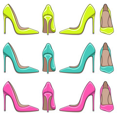 Set of bright color illuminations of female classical shoes with high heels. Isolated objects on white background.