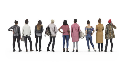 Back view of standing girls in line. Illustration on white background, 3d rendering isolated.