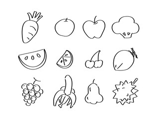drawing Veggies and fruits, vector