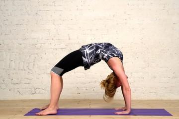 Adult woman practicing yoga