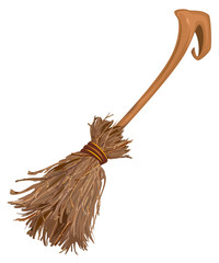 Old broom witchs with long handle. Accessory for Halloween