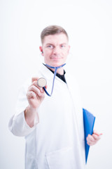 caucasian man doctor with stethoscope on white background