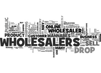 WHOLESALERS VS WANNABES AND DROP SHIPPERS TEXT WORD CLOUD CONCEPT