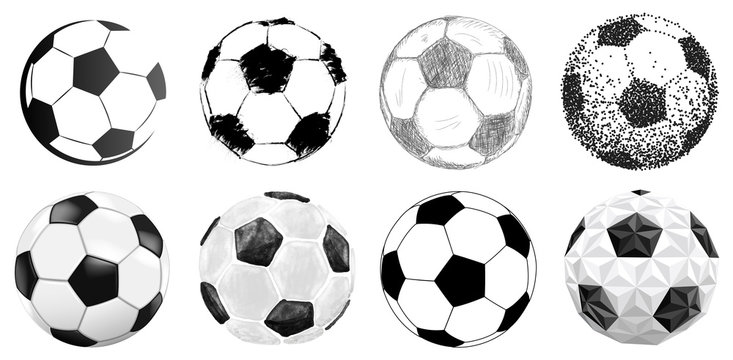 soccer ball collection in different styles