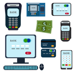 Money atm - cash machine vector icons set