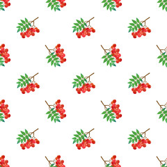 Seamless background image colorful watercolor texture tropical fruit red rowan berry