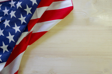 U.S.A. flag on wooden background