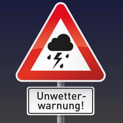 Schild mit Piktogramm Gewitter und Unwetterwarnung