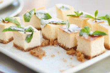 Appetizing cheesecake with mint leaves. Delicious sliced dessert on white plate.