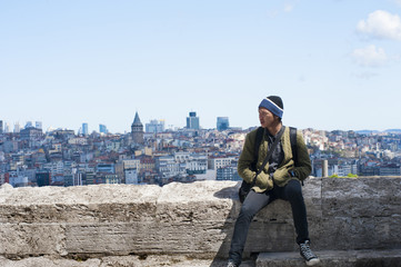 Image shooting on the top of domes of Suleymaniye Mosque, background is the town and Bosphorus Strait, Istanbul, Turkey