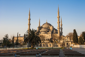 The Blue Mosque in the morning, the biggest mosque in Istanbul of Sultan Ahmed (Ottoman Empire)