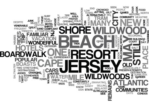 WONDERFUL WILDWOOD NEW JERSEY TEXT WORD CLOUD CONCEPT