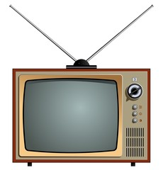 Vector illustration of the old tv. Video receiver screen. Retro old tv isolated on white background.