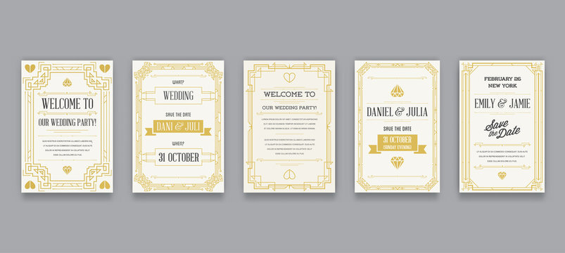 Set of Great Quality Style Invitation in Art Deco or Nouveau Epoch 1920's Gangster Era Collection Vector