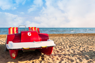 Pedal-boat on the beach.