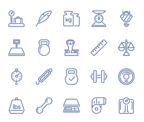 Set of Minimal Weight and Scales Related Vector Line Icons. Perfect Pixel. Thin Stroke. 48x48.