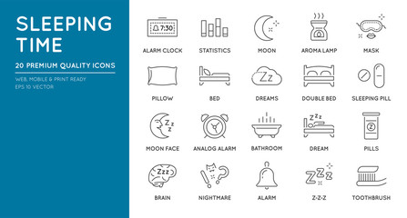 Set of Minimal Sleep Time Vector Line Icons. Perfect Pixel. Thin Stroke.