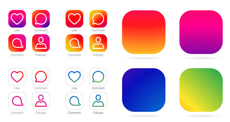 App Icon Template. Vector Gradient Fresh Color Set