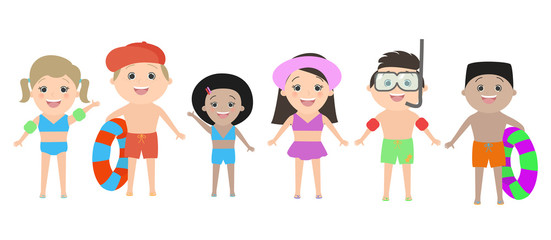 Children of different nationalities in beach clothes isolated on white background. Vector cartoon