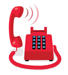 Red stationary phone with button keypad and raised handset