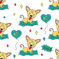 Seamless vector pattern with funny vector dog characters and decor elements.
