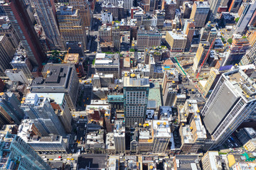 Aerial view of traffic and street activity  in Manhattan, New York City