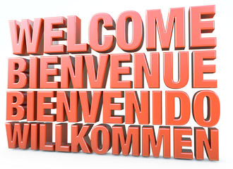 3d illustration of a welcome sign or inscription in different languages